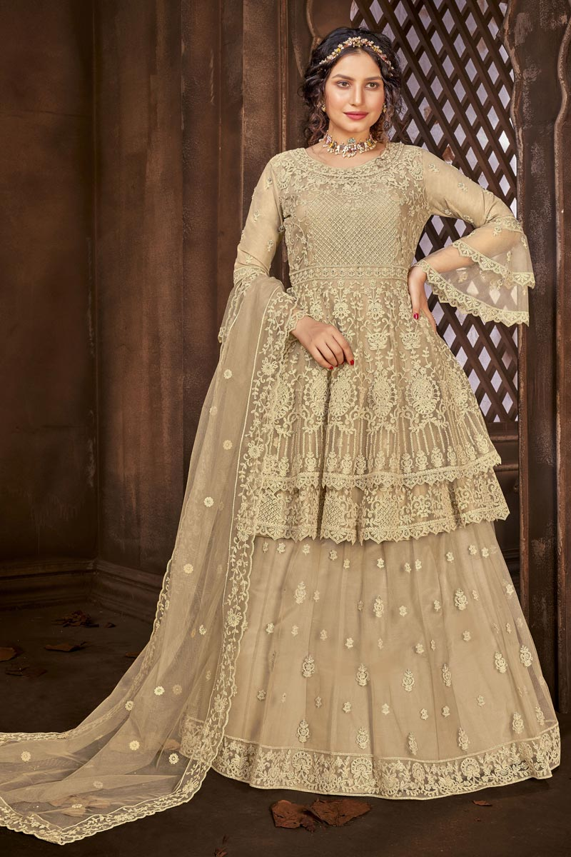Net Fabric Function Wear Embroidered Beige Color Sharara Top Lehenga