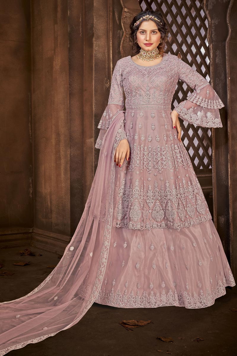 Net Fabric Embroidered Sharara Top Lehenga In Pink Color