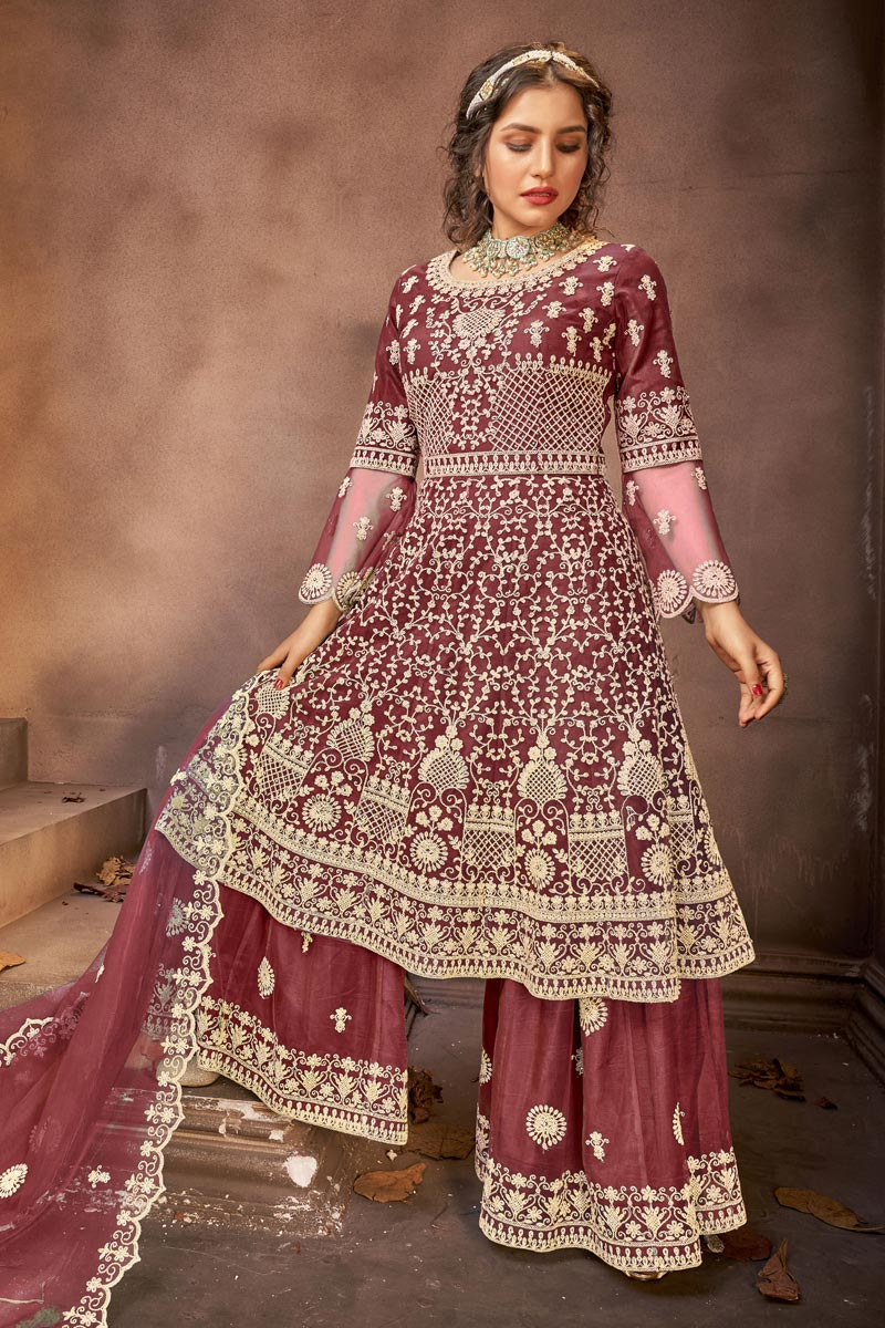 Wine Color Embroidery Work Designer Wedding Wear Net Fabric Palazzo Suit