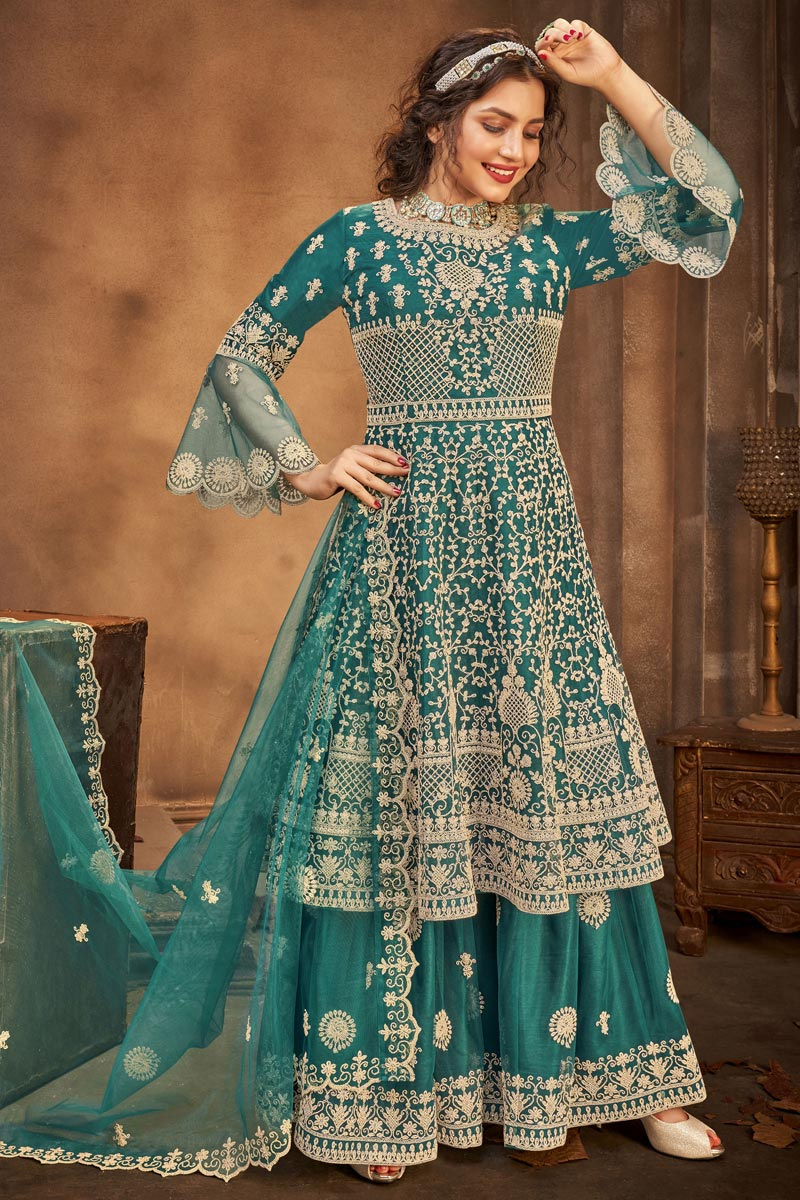 Teal Color Net Fabric Embroidery Work Function Wear Fancy Palazzo Suit