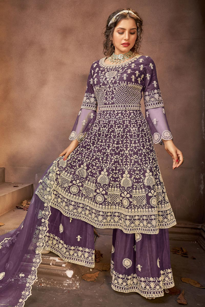 Net Fabric Embroidery Work Festive Wear Trendy Palazzo Suit In Purple Color