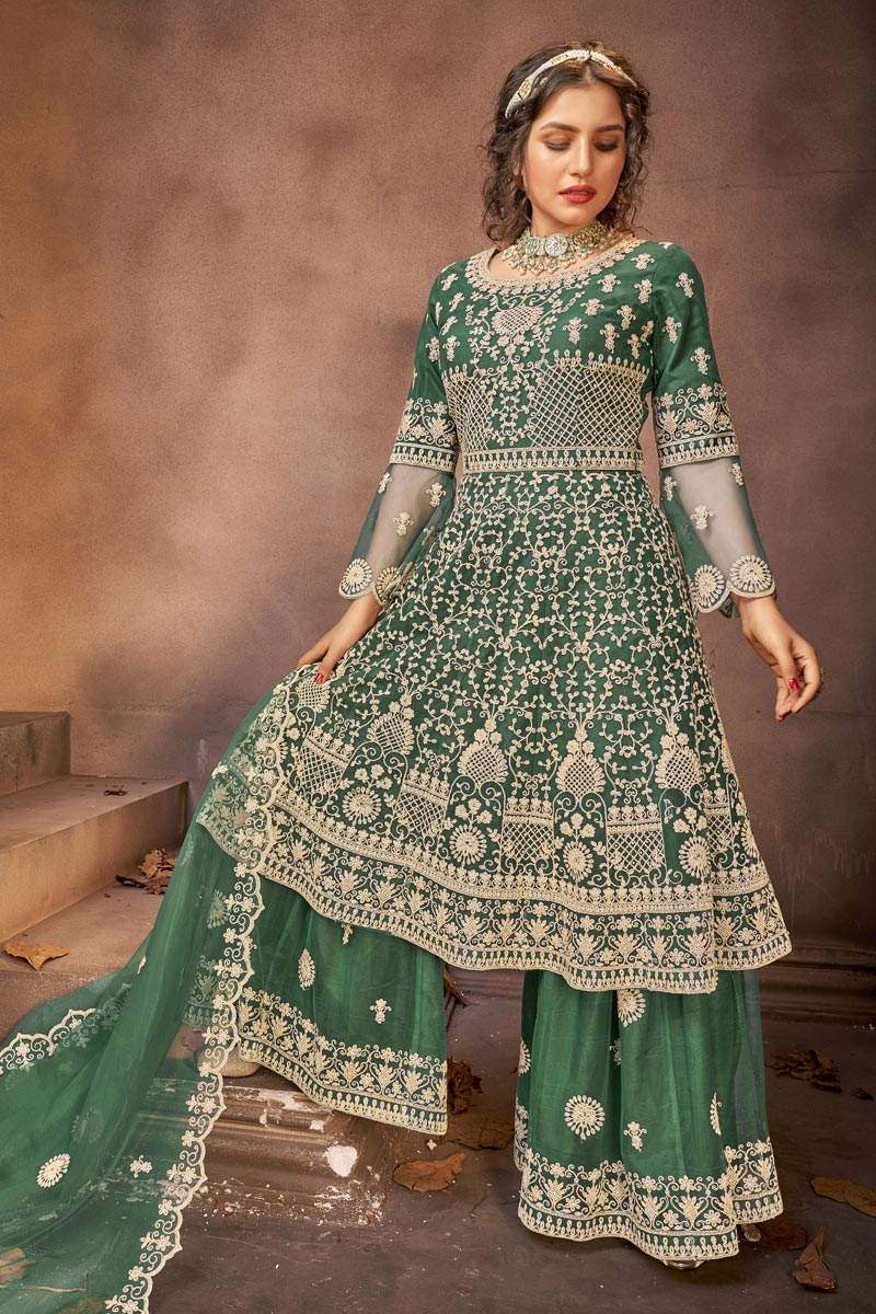 Embroidery Work Sangeet Wear Stylish Palazzo Suit In Green Color Net Fabric