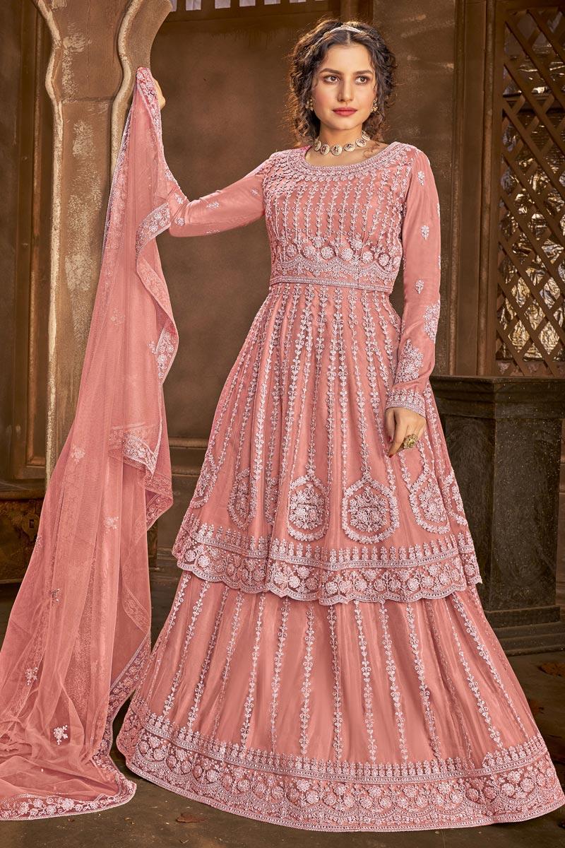 Net Fabric Function Wear Embroidered Peach Color Sharara Top Lehenga