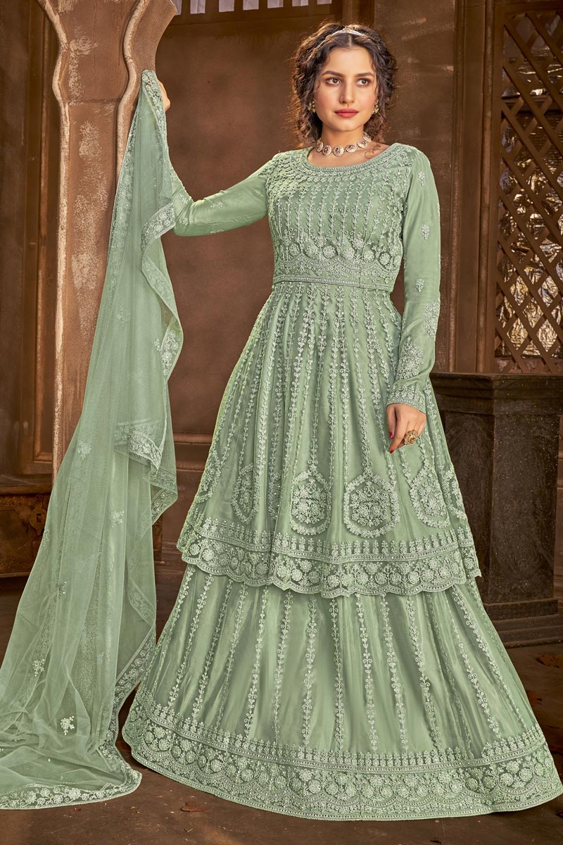 Embroidered Function Wear Sea Green Color Sharara Top Lehenga In Net Fabric