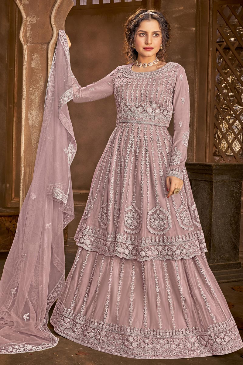 Net Fabric Function Wear Lavender Color Embroidered Sharara Top Lehenga