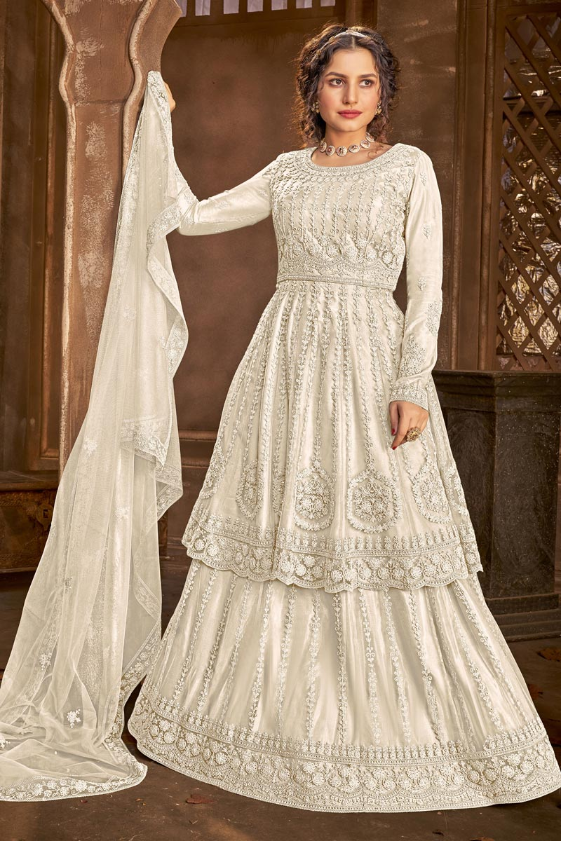 Function Wear Net Fabric Embroidered Sharara Top Lehenga In Off White Color