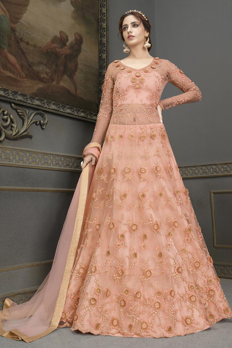 Peach Color Party Wear Elegant Embroidered Georgette Fabric Anarkali Dress