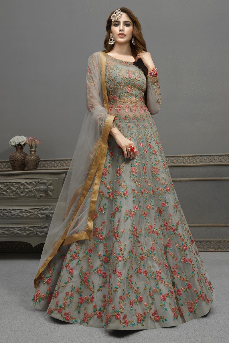 Party Wear Grey Color Georgette Fabric Elegant Embroidered Anarkali Dress