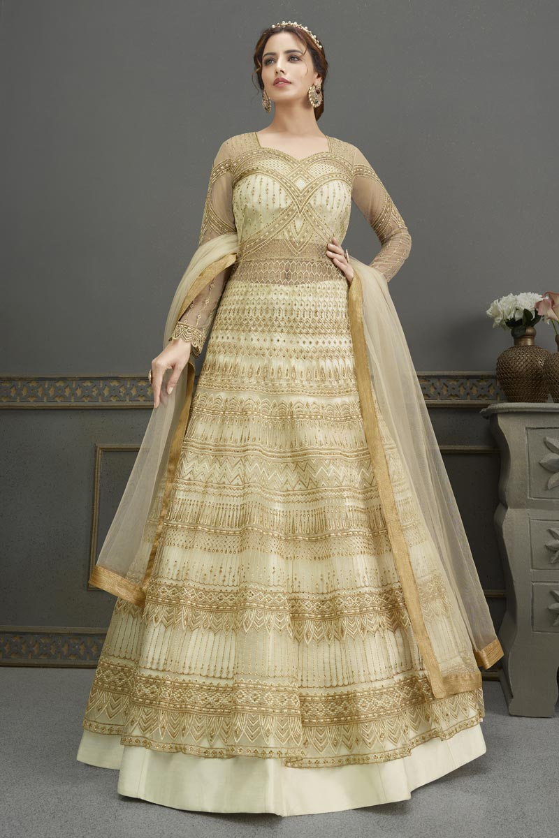 Georgette Fabric Party Wear Elegant Embroidered Anarkali Suit In Beige Color