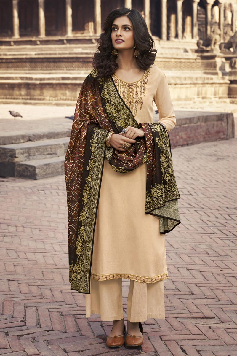Festive Wear Beige Color Chiffon Fabric Elegant Embroidered Palazzo Suit