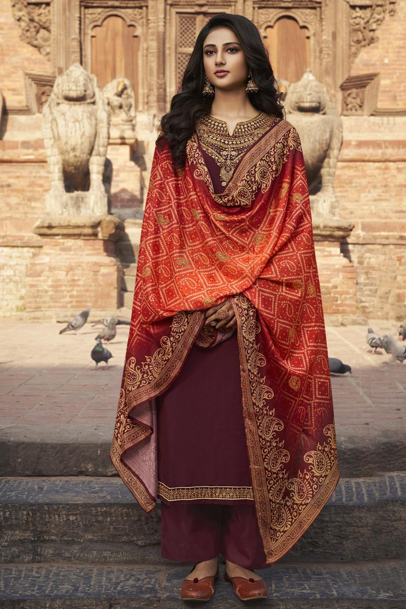 Chiffon Fabric Festive Wear Elegant Embroidered Palazzo Suit In Brown Color