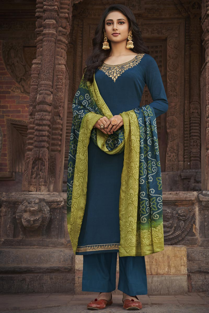 Festive Wear Teal Color Elegant Embroidered Palazzo Suit Chiffon Fabric