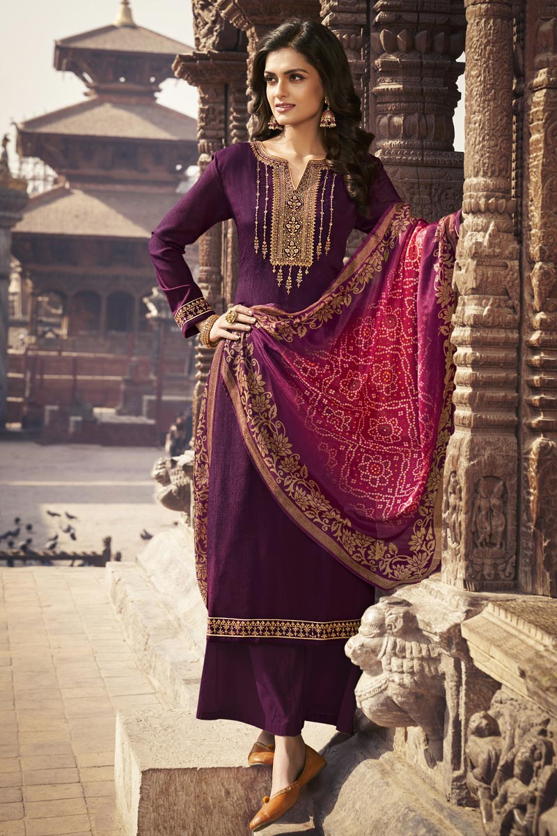 Festive Wear Purple Color Elegant Embroidered Palazzo Suit In Chiffon Fabric