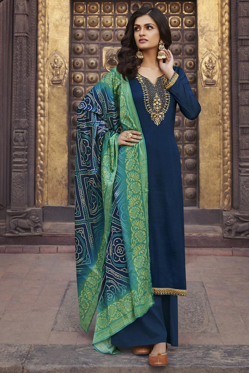 Navy Blue Color Festive Wear Elegant Embroidered Palazzo Suit In Chiffon Fabric