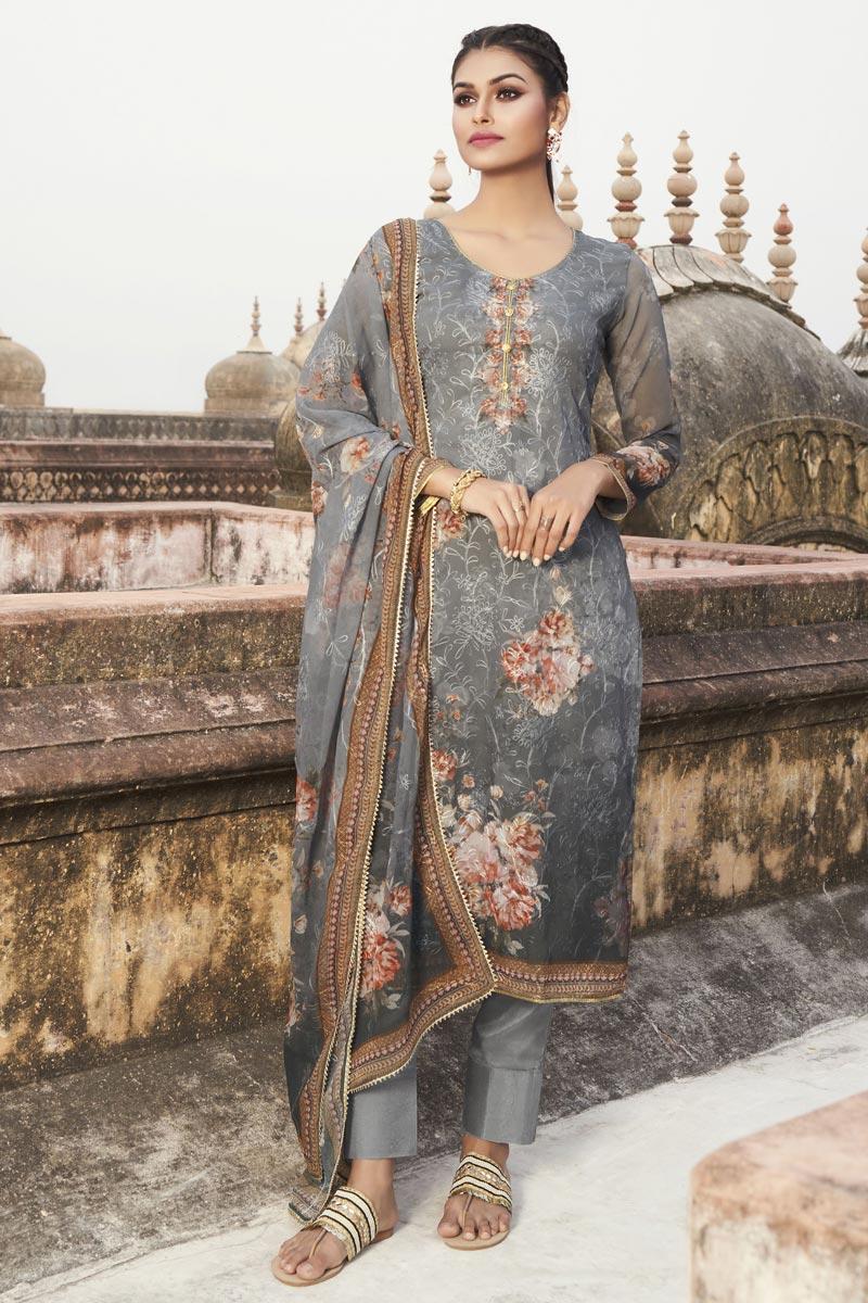 Grey Color Festive Wear Elegant Embroidered Georgette Fabric Straight Cut Dress