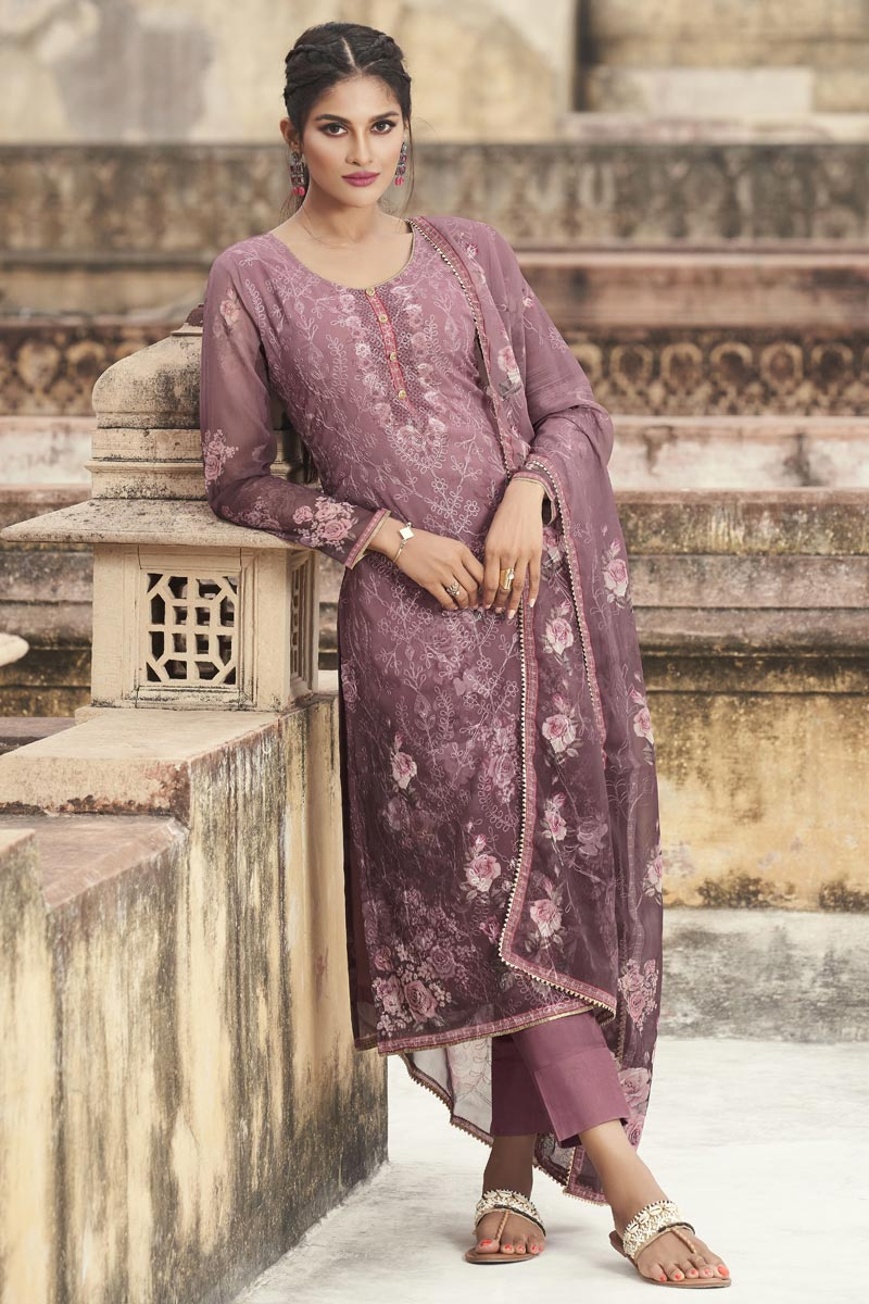Levender Color Festive Wear Elegant Embroidered Straight Cut Suit In Georgette Fabric