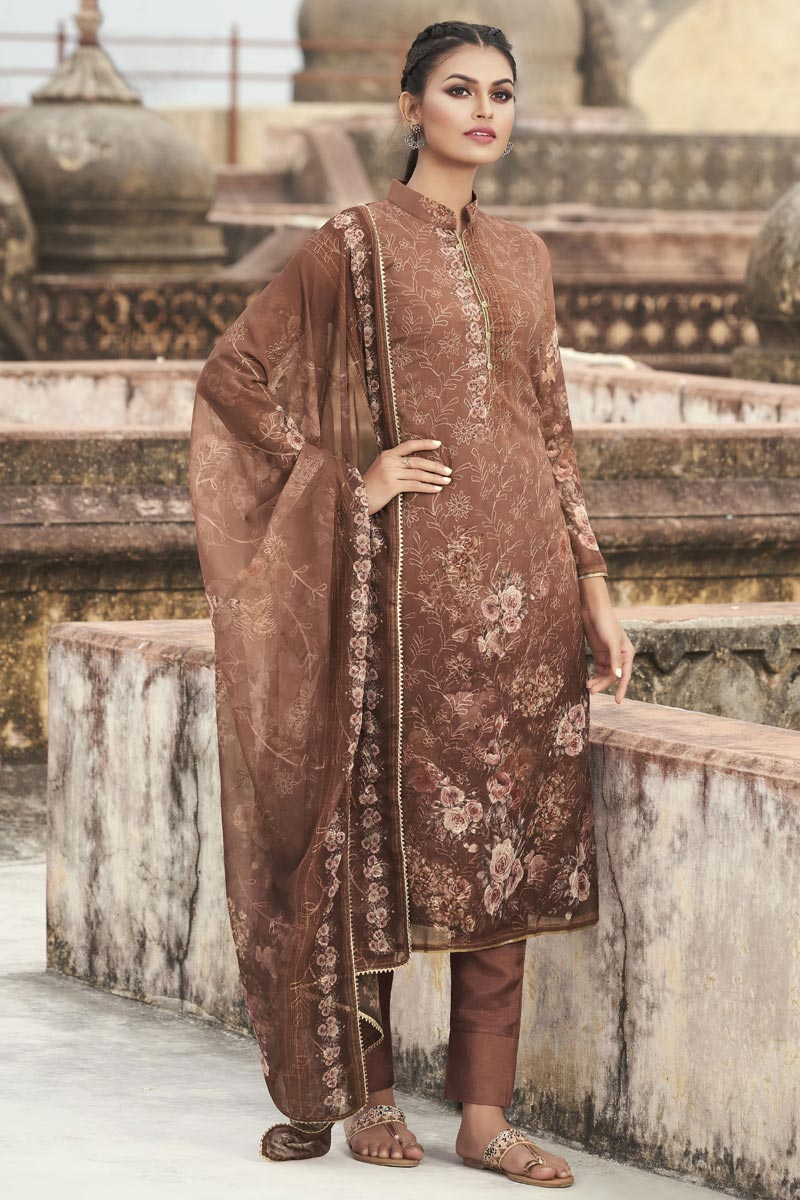 Festive Wear Brown Color Elegant Embroidered Straight Cut Georgette Fabric Dress