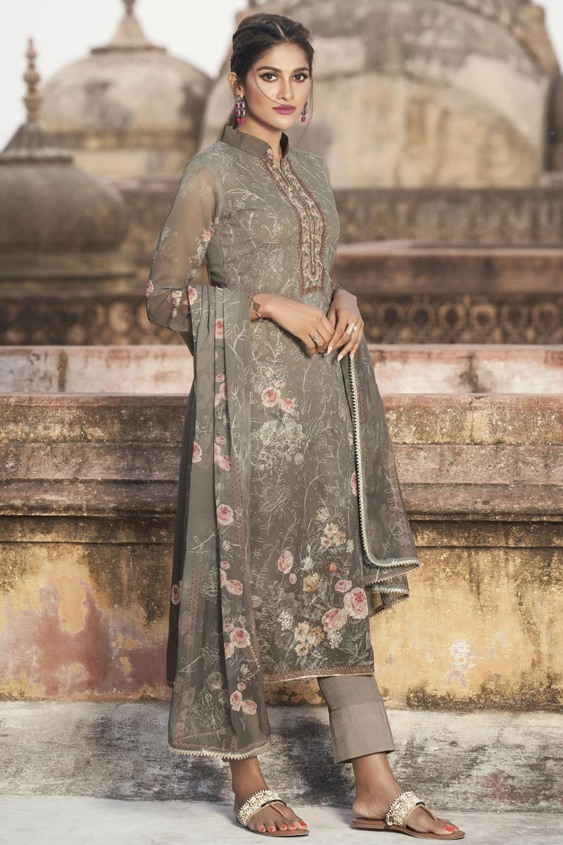 Festive Wear Cream Color Elegant Embroidered Straight Cut Suit In Georgette Fabric