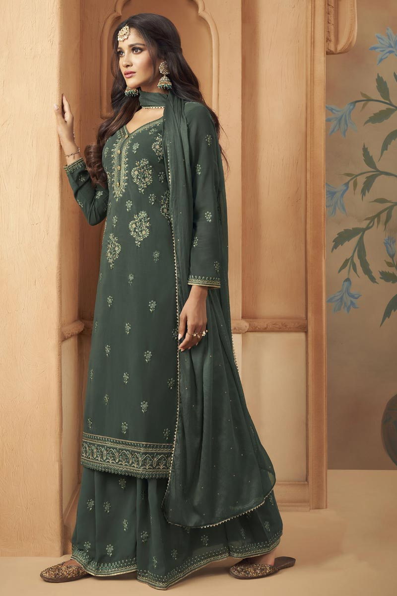 Georgette Fabric Party Wear Grey Color Embroidered Palazzo Suit