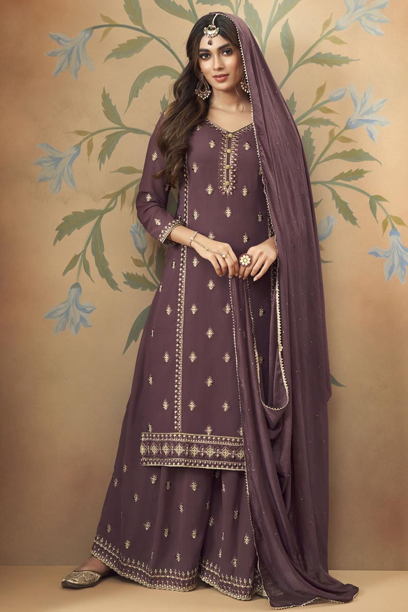 Wine Color Georgette Fabric Party Wear Embroidered Palazzo Dress