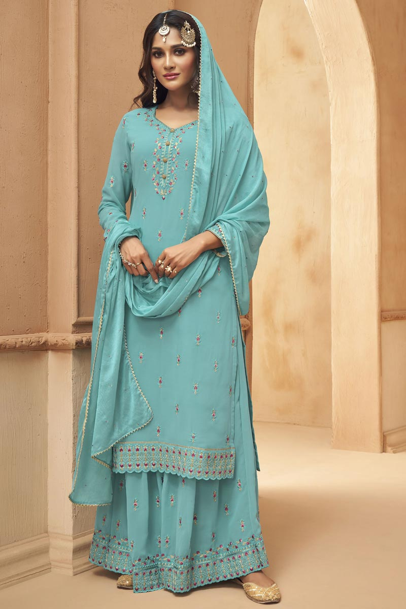 Georgette Fabric Party Wear Embroidered Palazzo Dress In Light Cyan Color