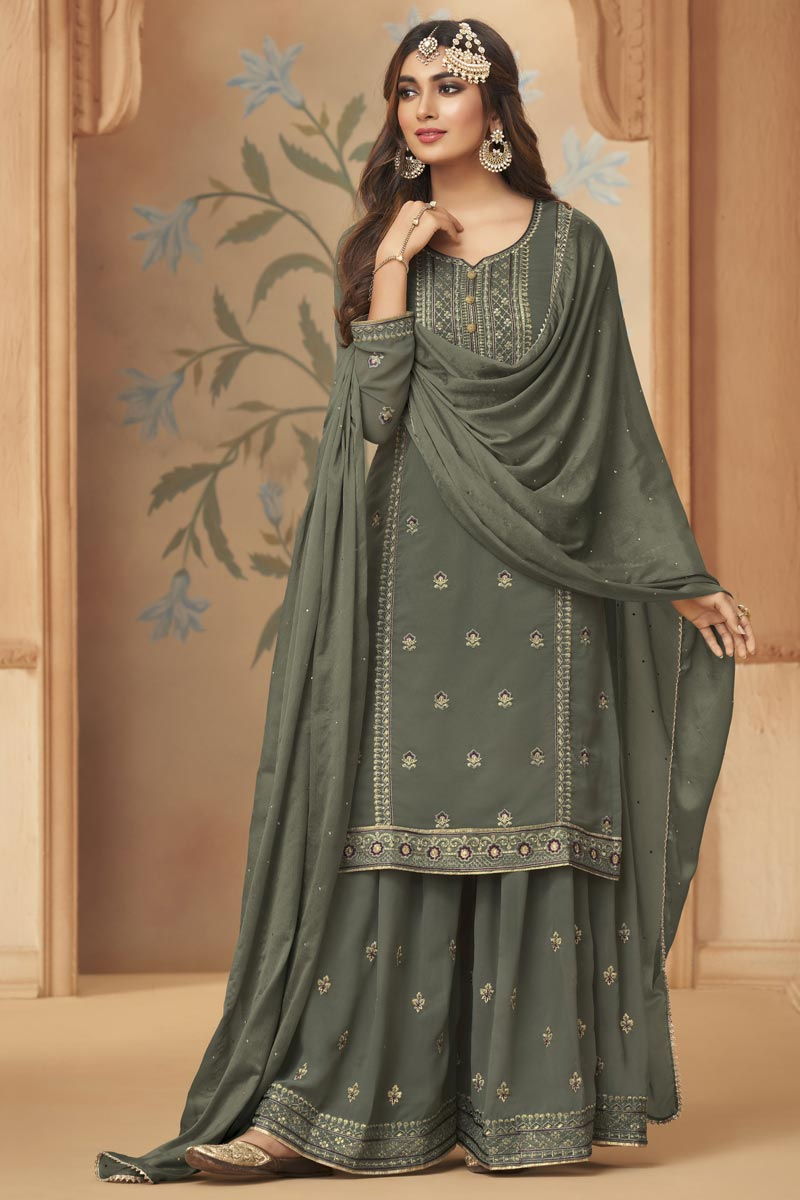 Party Wear Georgette Fabric Dark Beige Color Embroidered Palazzo Suit