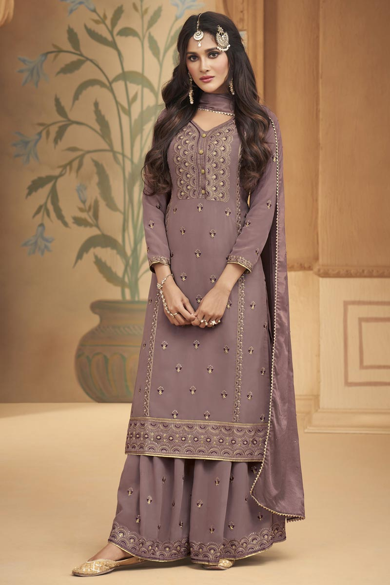Georgette Fabric Party Wear Embroidered Lavender Color Palazzo Dress