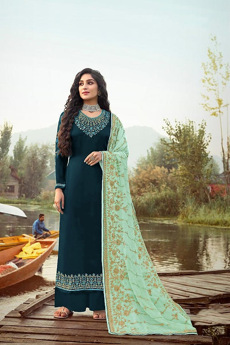 Georgette Fabric Function Wear Elegant Embroidered Palazzo Suit In Teal Color