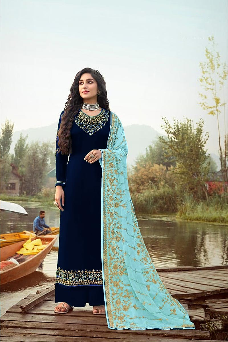 Function Wear Navy Blue Color Elegant Embroidered Palazzo Suit Georgette Fabric