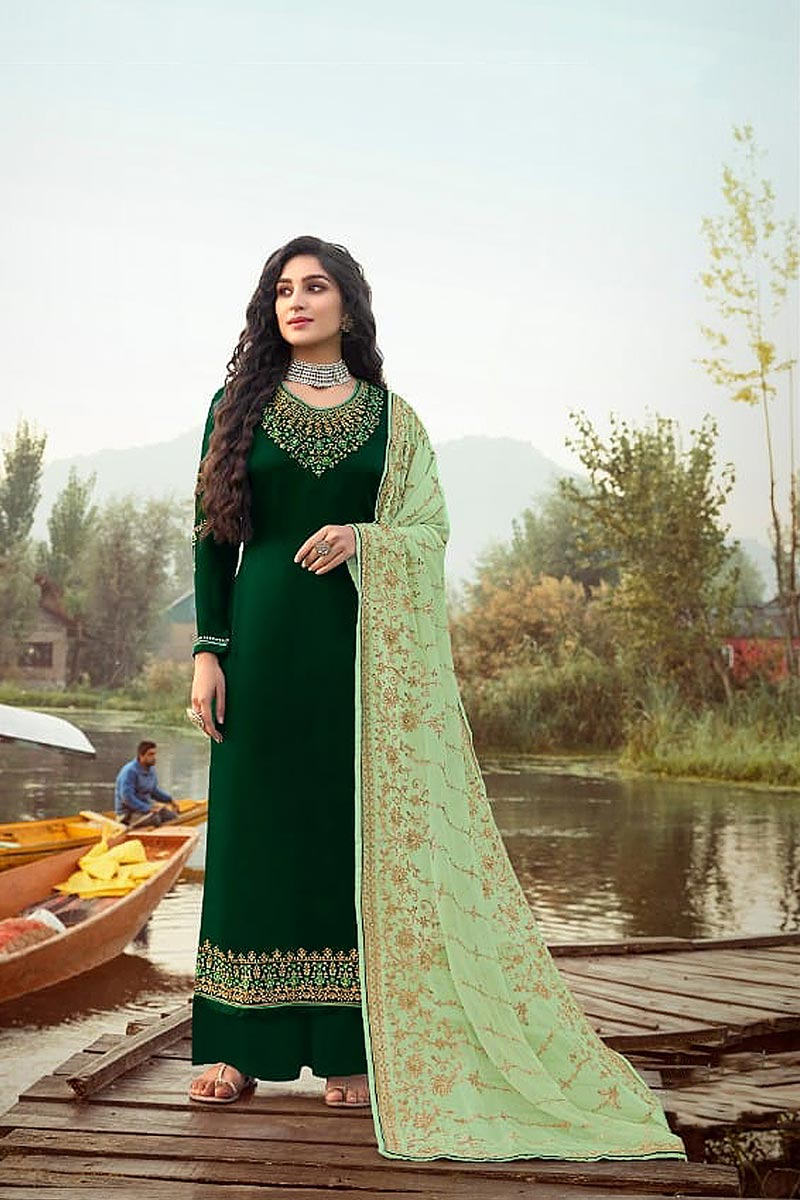 Function Wear Green Color Elegant Embroidered Palazzo Suit In Georgette Fabric