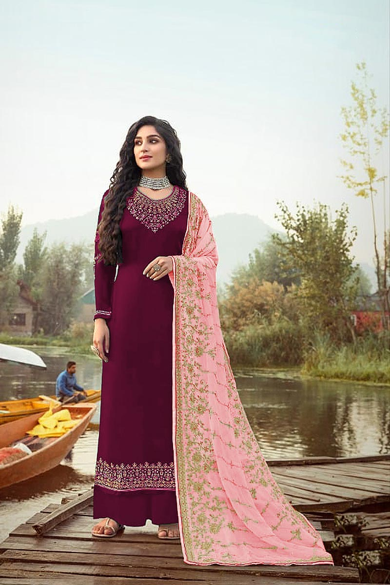 Wine Color Function Wear Elegant Embroidered Palazzo Suit In Georgette Fabric