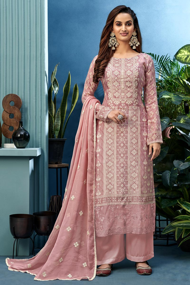 Pink Color Festive Wear Printed Fancy Fabric Palazzo Dress
