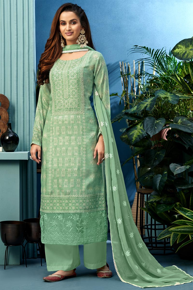 Sea Green Color Festive Wear Printed Palazzo Suit In Fancy Fabric
