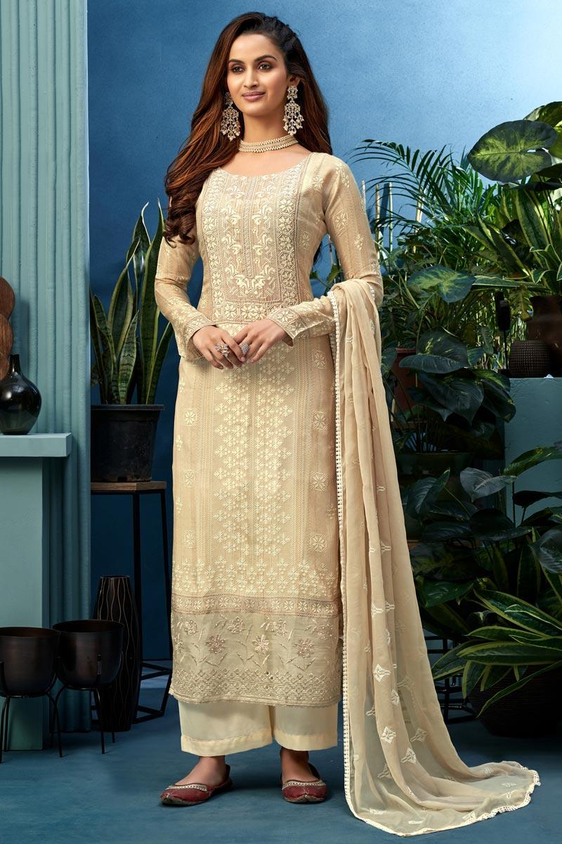 Fancy Fabric Festive Wear Beige Color Printed Palazzo Dress