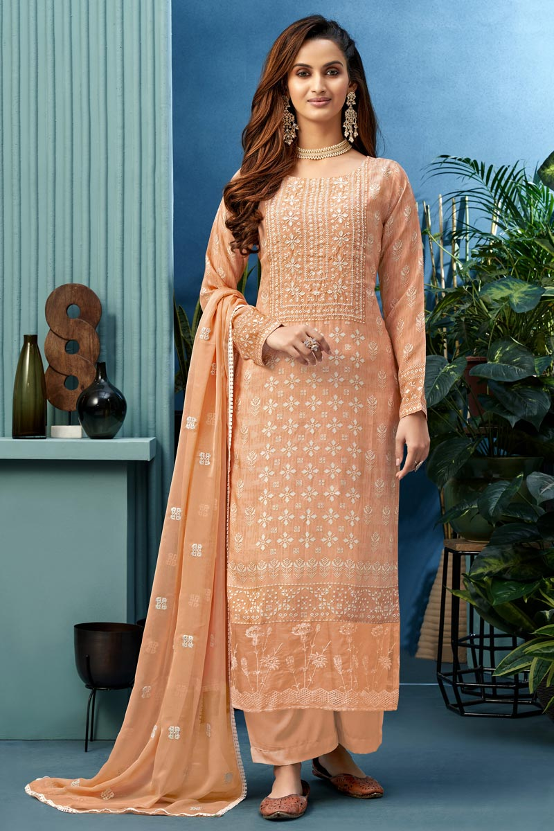 Festive Wear Fancy Fabric Printed Palazzo Suit In Peach Color