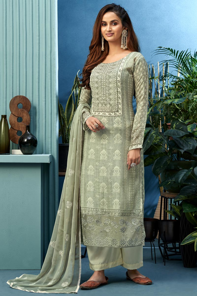 Festive Wear Grey Color Printed Palazzo Suit In Fancy Fabric
