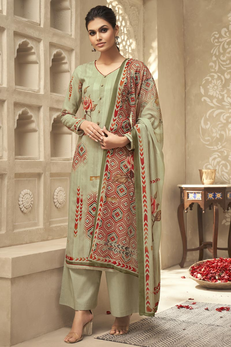 Festive Wear Fancy Sea Green Color Printed Palazzo Suit In Satin Silk Fabric