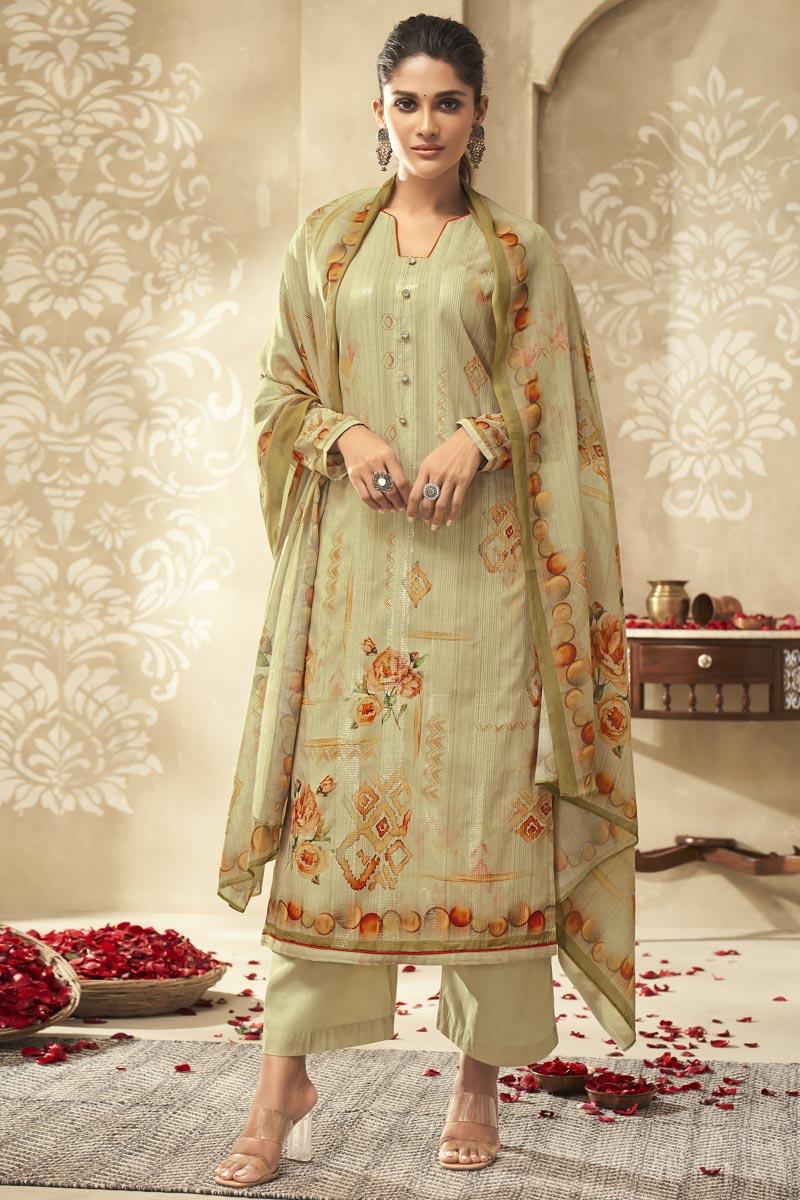 Festive Wear Fancy Satin Silk Fabric Printed Palazzo Suit In Beige Color