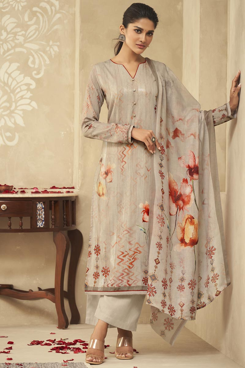 Cream Color Festive Wear Fancy Printed Palazzo Dress In Satin Silk Fabric