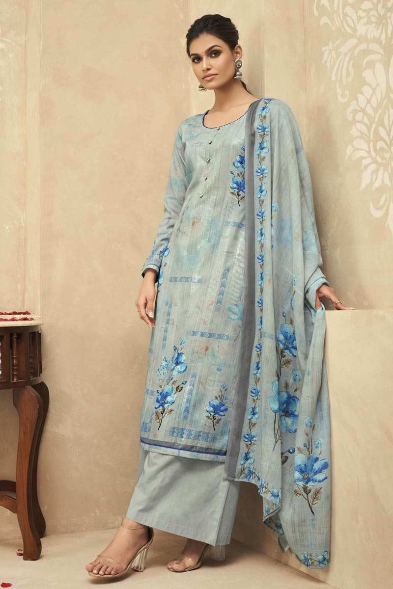 Festive Wear Grey Color Fancy Printed Palazzo Suit In Satin Silk Fabric