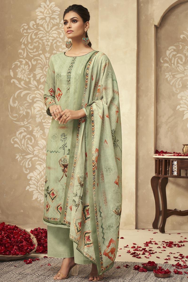 Sea Green Color Festive Wear Fancy Printed Satin Silk Fabric Palazzo Dress