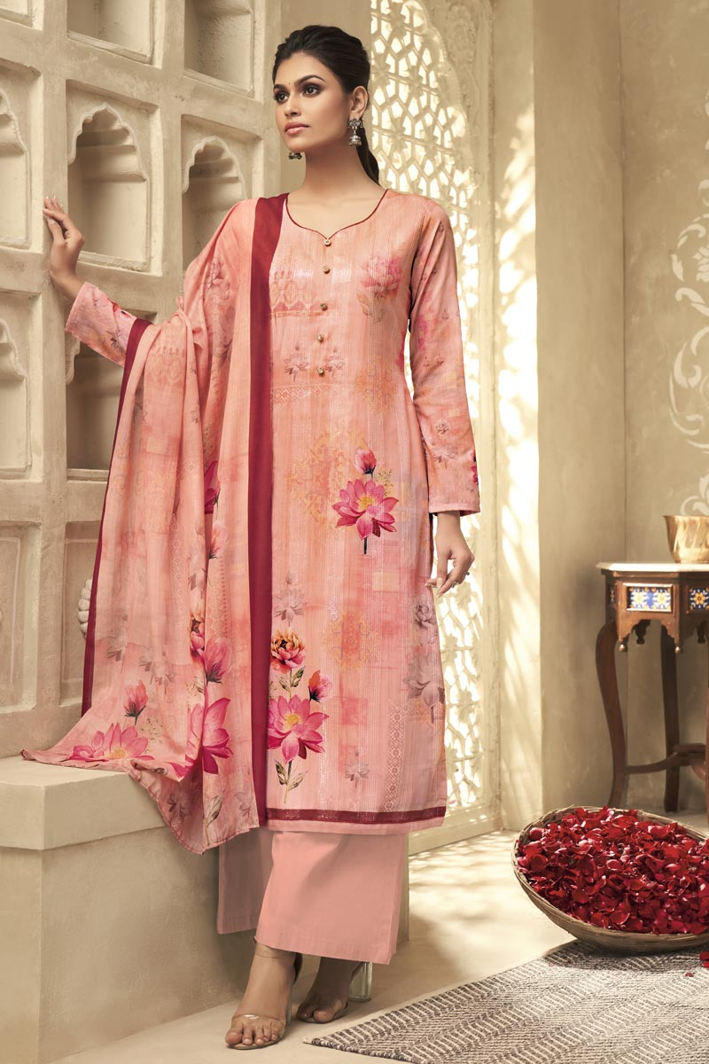Festive Wear Fancy Satin Silk Fabric Printed Palazzo Suit In Peach Color