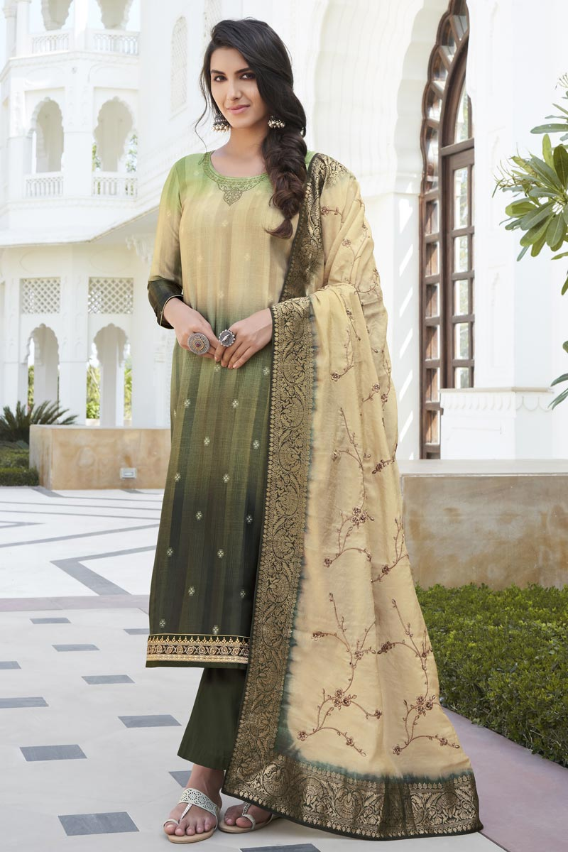 Party Wear Mehendi Green Color Fancy Embroidered Palazzo Suit In Satin Silk Fabric