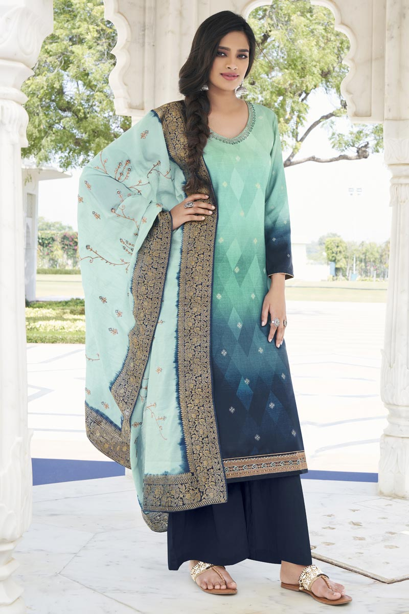 Party Wear Fancy Sea Green Color Embroidered Palazzo Suit In Satin Silk Fabric