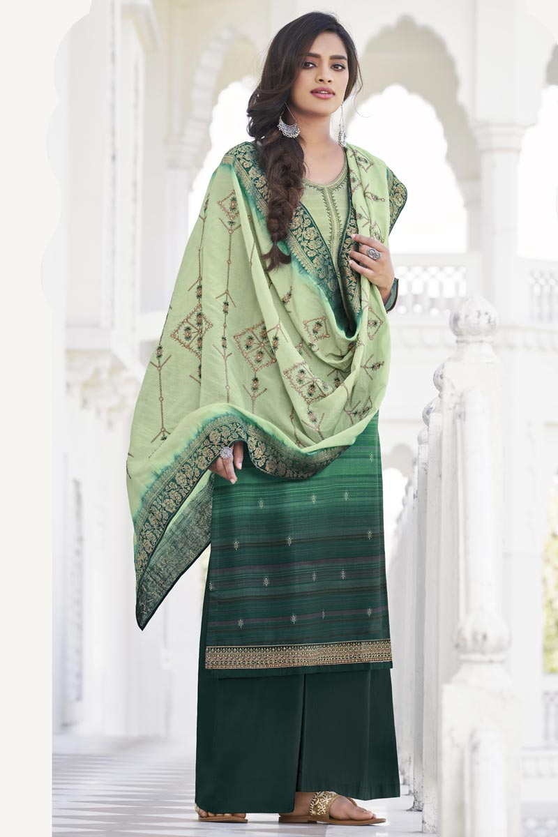 Party Wear Fancy Dark Green Color Embroidered Palazzo Suit In Satin Silk Fabric