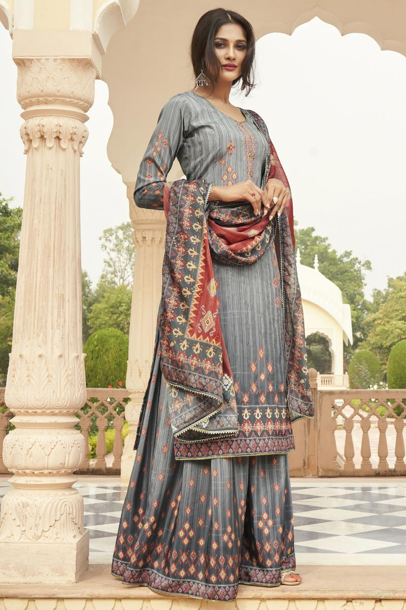 Party Wear Grey Color Fancy Printed Palazzo Suit In Crepe Fabric