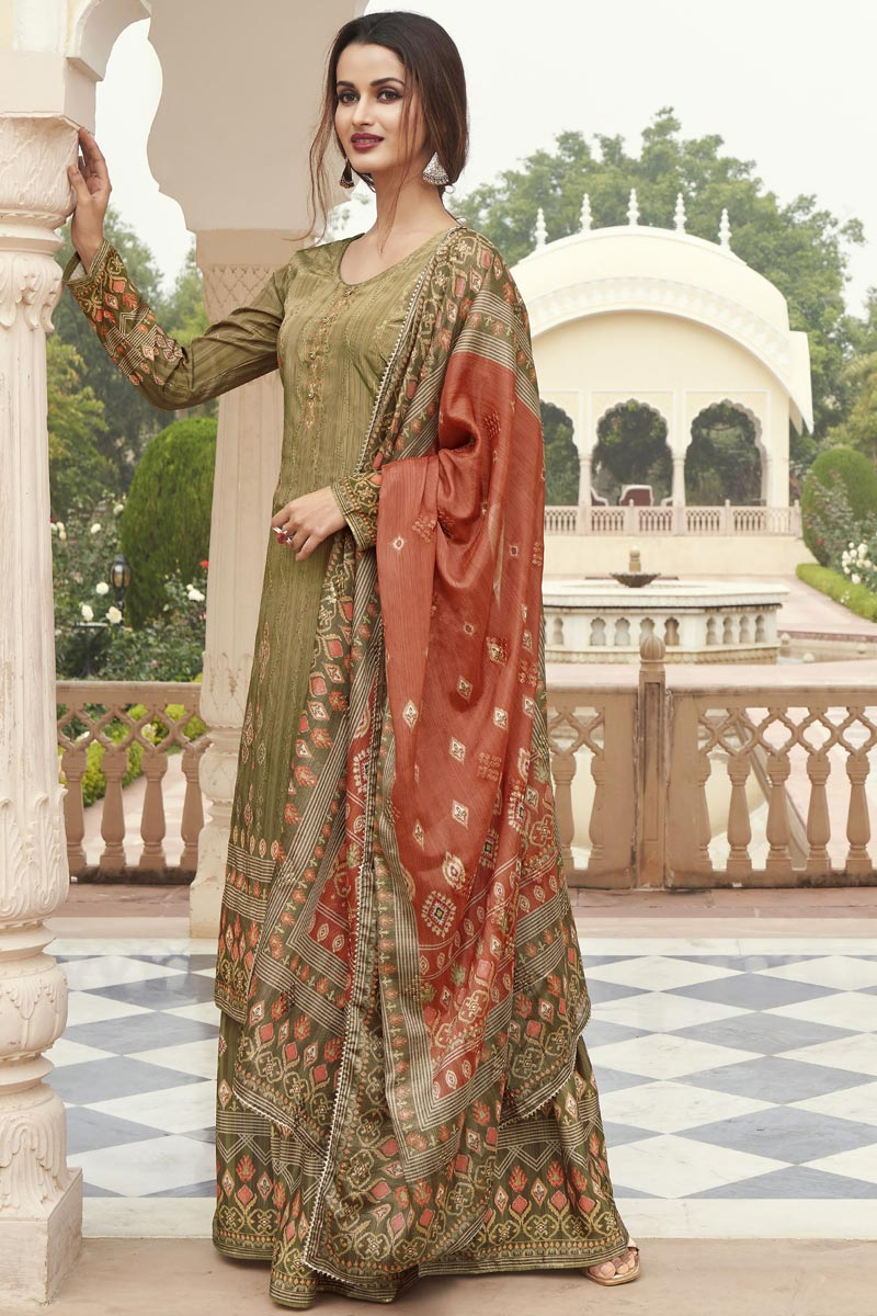 Mehendi Green Color Party Wear Fancy Printed Crepe Fabric Palazzo Dress