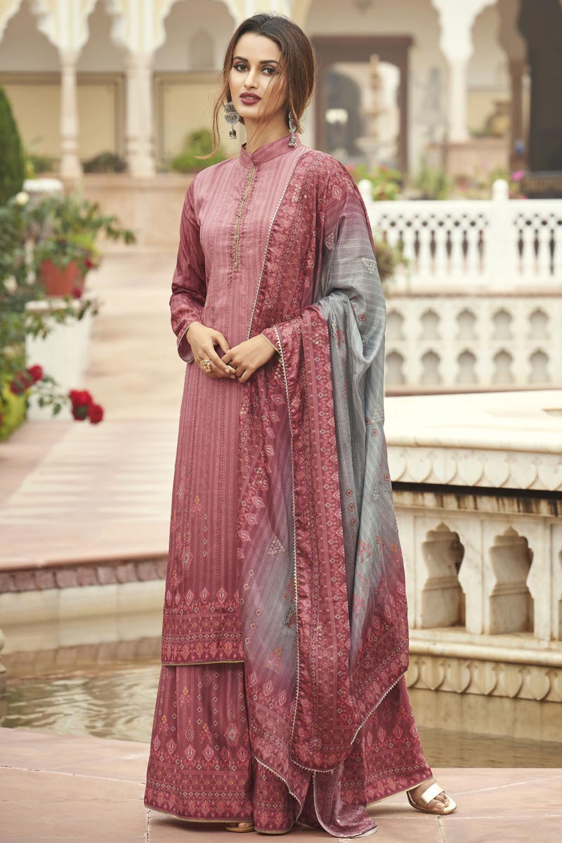 Party Wear Fancy Pink Color Printed Palazzo Suit In Crepe Fabric