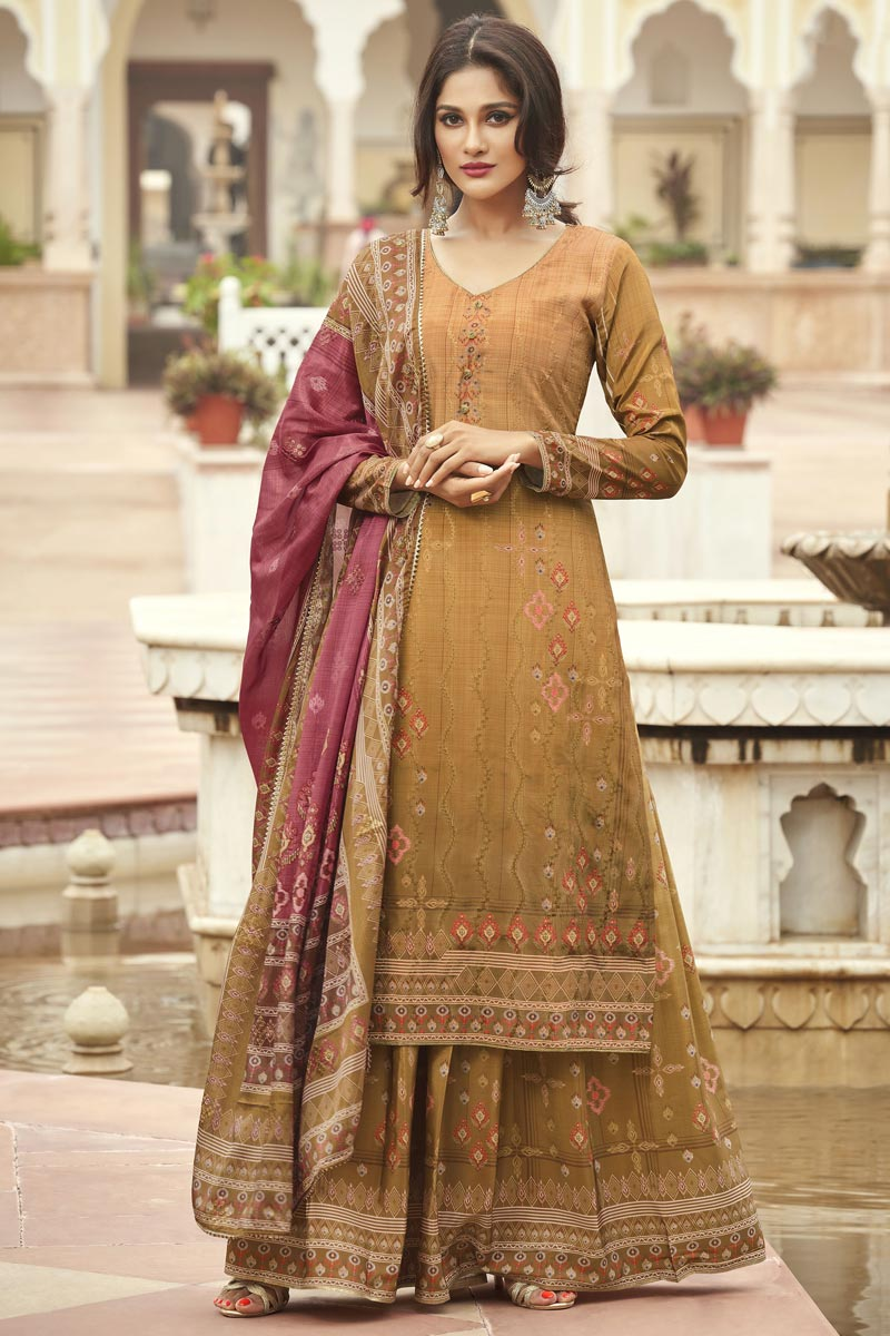 Crepe Fabric Party Wear Mustard Color Fancy Printed Palazzo Dress
