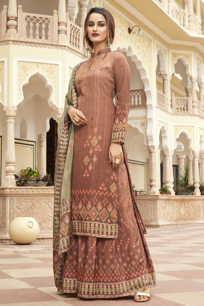 Peach Color Party Wear Fancy Printed Palazzo Dress In Crepe Fabric